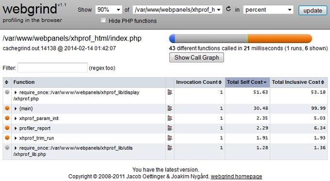 Webgrind - веб-интерфейс для профайлера xDebug